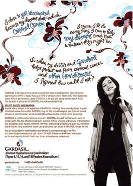Reklamný plagát na Gardasil/Silgard