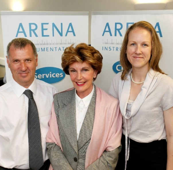 MEP Jacqueline Foster (centre) with David Dawe and Lucy Robertshaw