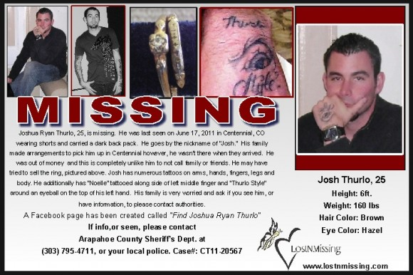 Joshua Ryan Thurlo 25 MISSING from Centennial CO - June 17 2011