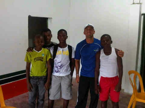 Luis with children from Soccer Program in Colombia