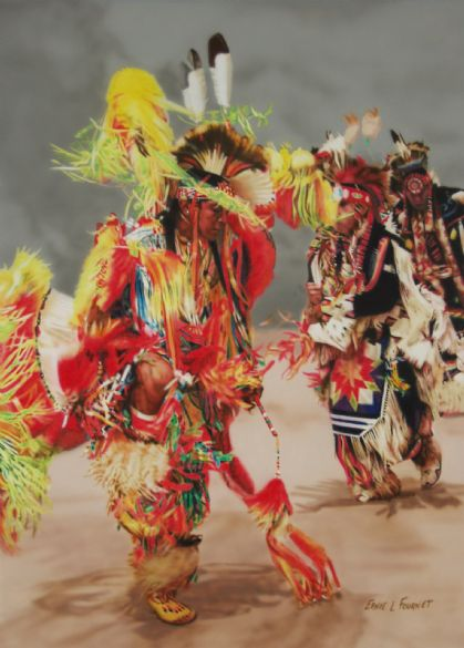 "Ernie L. Fournet, ""War Dance"", Acrylic"