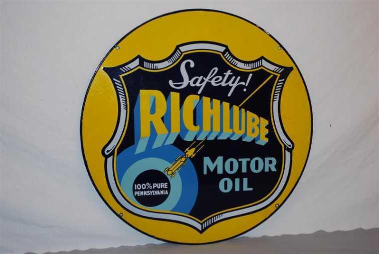 Richlube Motor Oil porcelain sign