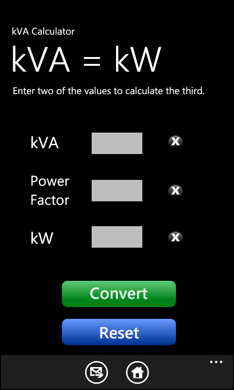 kVA Calculator for Windows 7 Phone & iPhone, iPad, iPod ...