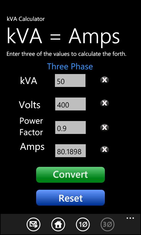 Calculator kva to watts