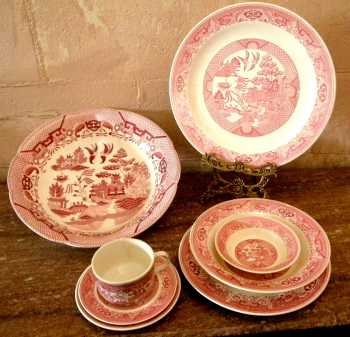 Pink Willow transferware
