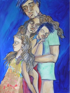 "Familia, Acrylic on Canvas, 39"" x 24"""
