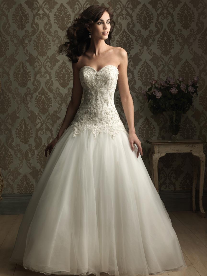 Embroidery and beads tulle ball gown wedding dresses prlog for Sweetheart neckline wedding dress