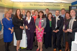 Tracy Griffiths (centre) with Business Network Che