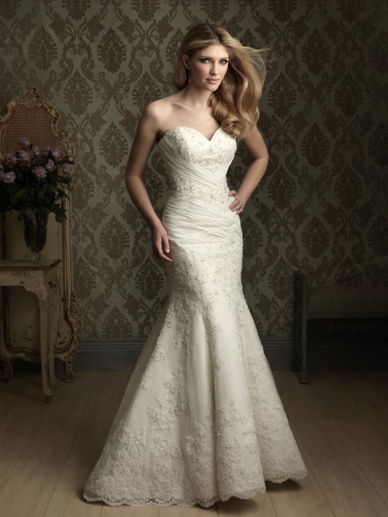 Lace applique sweetheart neckline mermaid trumpet wedding for Trumpet mermaid sweetheart wedding dress