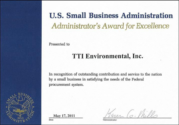 Environmental inc receives u s small business administration award