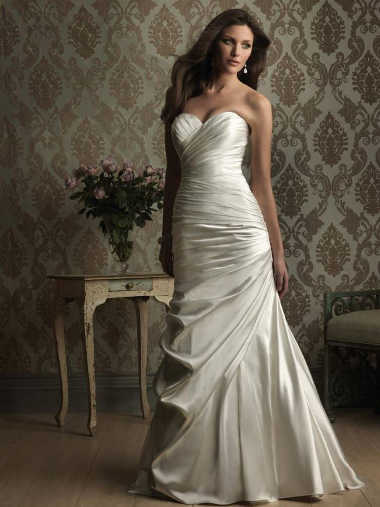Stunning satin sweetheart fitted sheath wedding dresses for Sweetheart neckline ruched bodice wedding dress