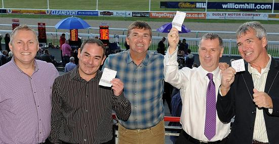 David Dawe (second from right) and friends celebra