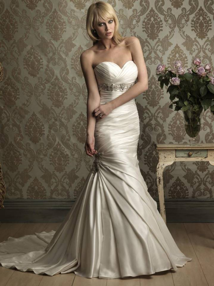 Sweetheart Beaded Fitted Mermaid Trumpet Wedding Dresses