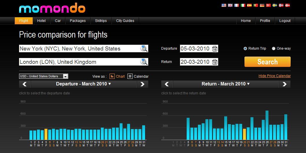 Momondo screen shot LON to NYC with price calendar