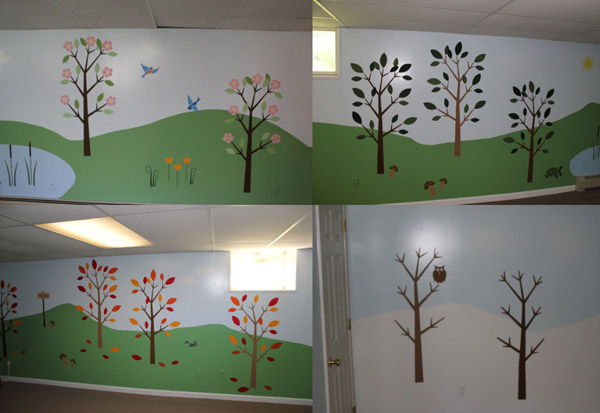 Maine family goes the extra mile with their wall stencils for 4 seasons mural