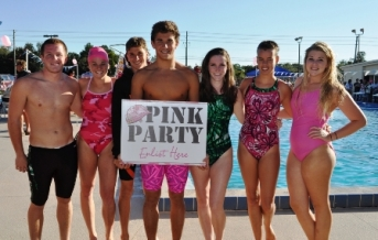 High Schoolers supporting breast cancer awareness.