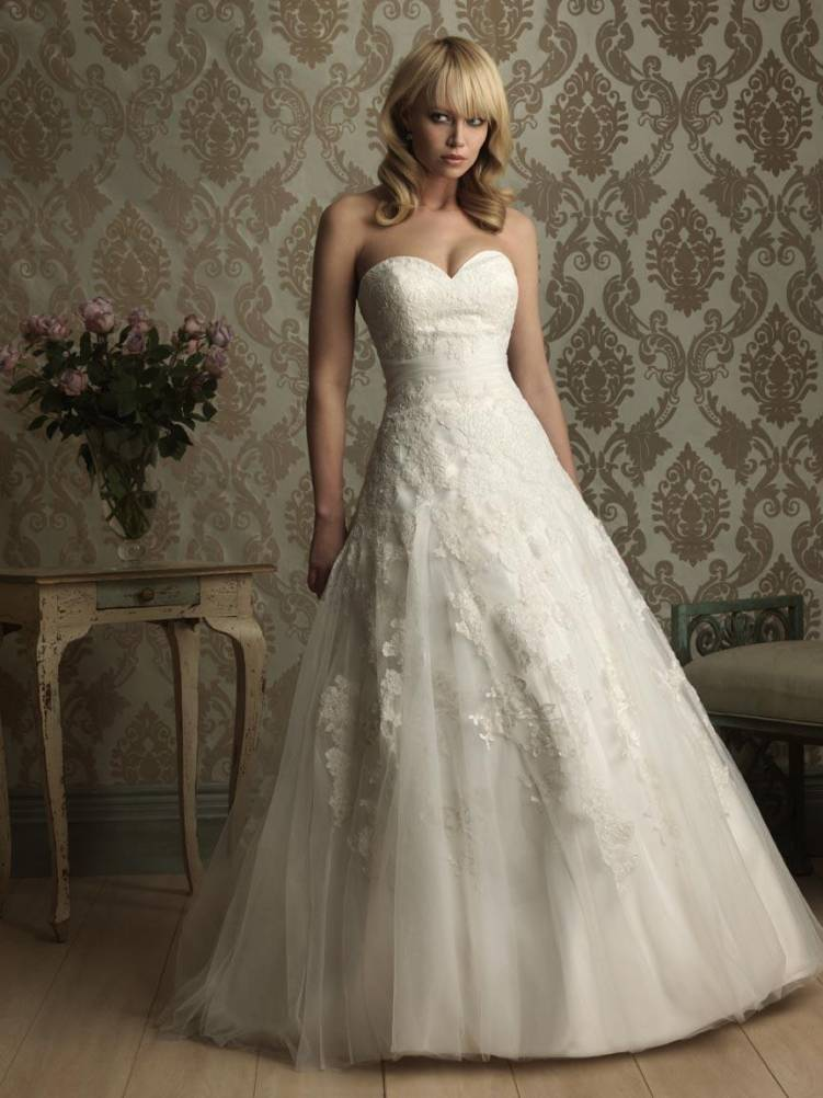 Romantic lace applique ball gown wedding dresses prlog for Applique for wedding dress