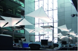 SEFAR Architecture fabric floats above workspaces