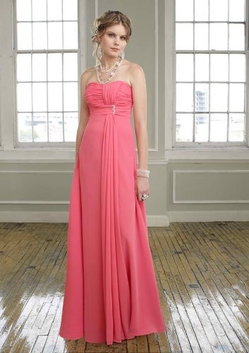 Hot Pink Sweetheart Full length Brooch Chiffon Bridesmaid Dresses ...