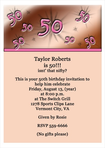Birthday Invites For 50th Birthdays Party