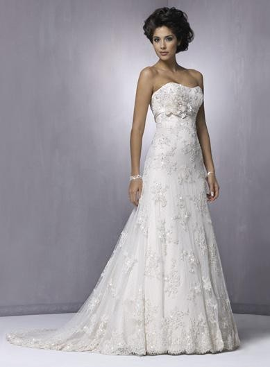Slim Strapless Flower Beaded Lace A-line Wedding Dresses ...