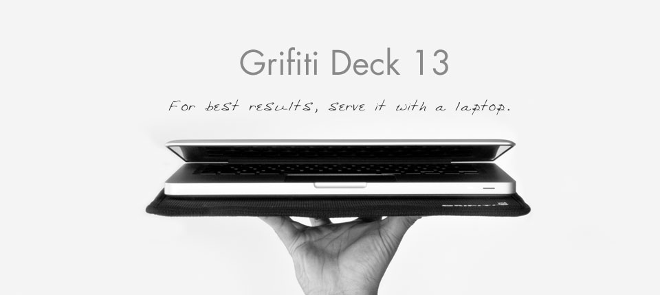 grifiti deck 13 lap desk serving an apple macbook