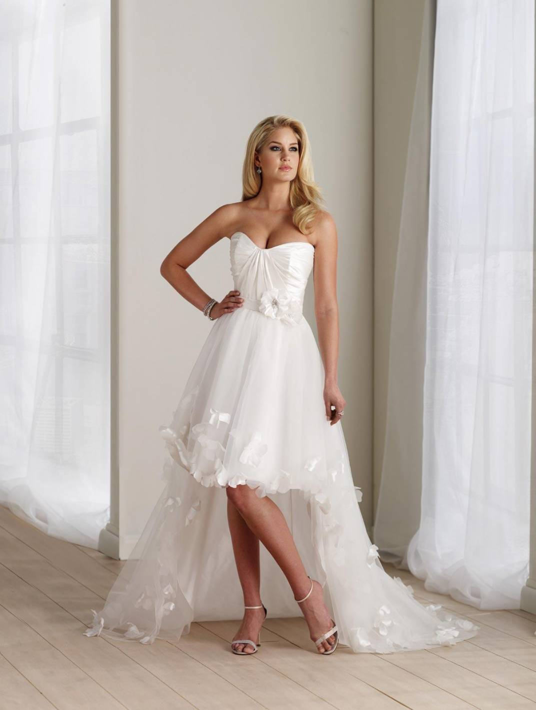 ivory wedding dresses high low flower taffeta strapless ivory wedding dress ivory wedding dresses