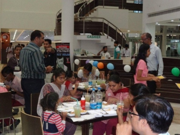 Kids enjoying at the food court in AlphaOne, Ahmed
