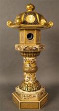 Mid19thC Satsuma Gosu Blue pagoda-form candlestick