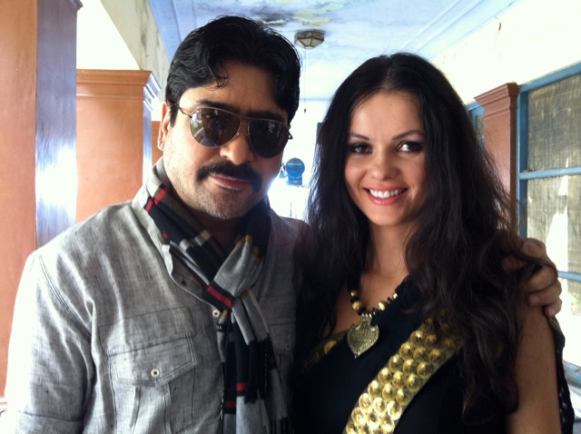 On the set with Yashpal Sharma and Natasha Blasick