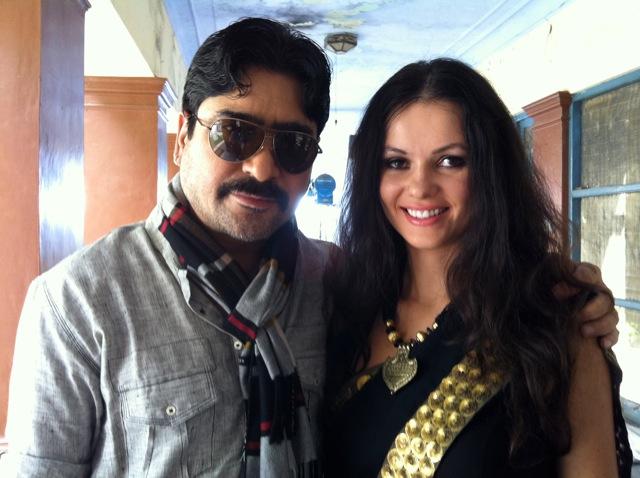 On the set with Yashpal Sharma and Natasha Blasick