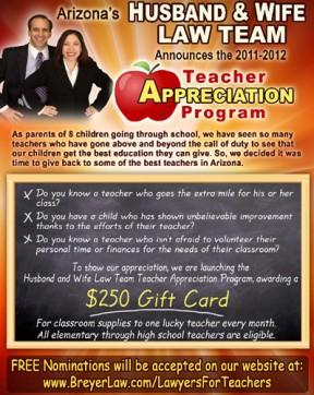 Breyer Law Offices AZ Teacher Appreciation Award