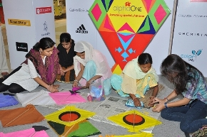 Kite Making Workshop at AlphaOne during Uttarayan