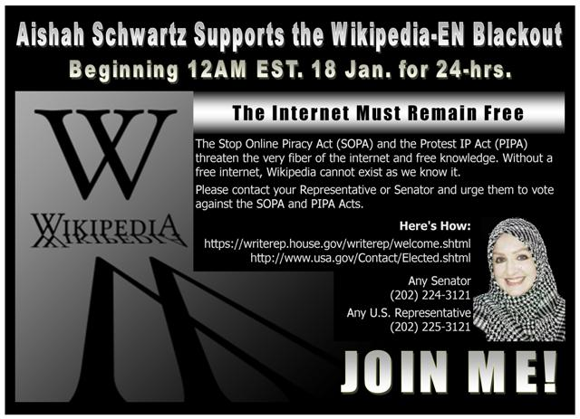 Aishah Schwartz Supports Wikipedia Blackout in Opp