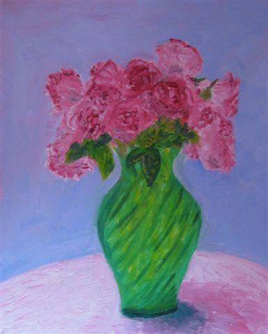 Pink Roses in a Green Vase by Anne Nordhaus-Bike