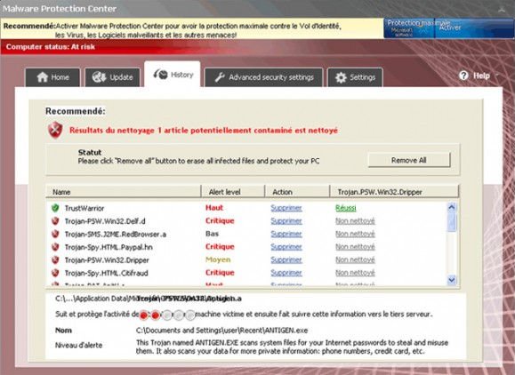 Malware Protection Center screen shot interface