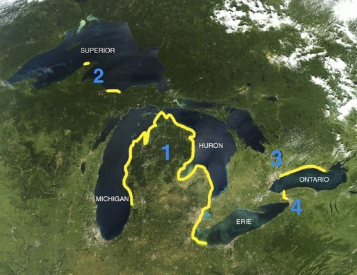 Niewenhuis's route along the five Great Lakes