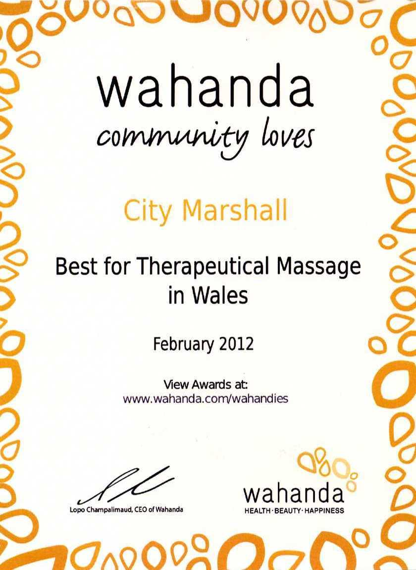 Voted Best Therapeutic Massage in Wales at the World Spa Awards 2012