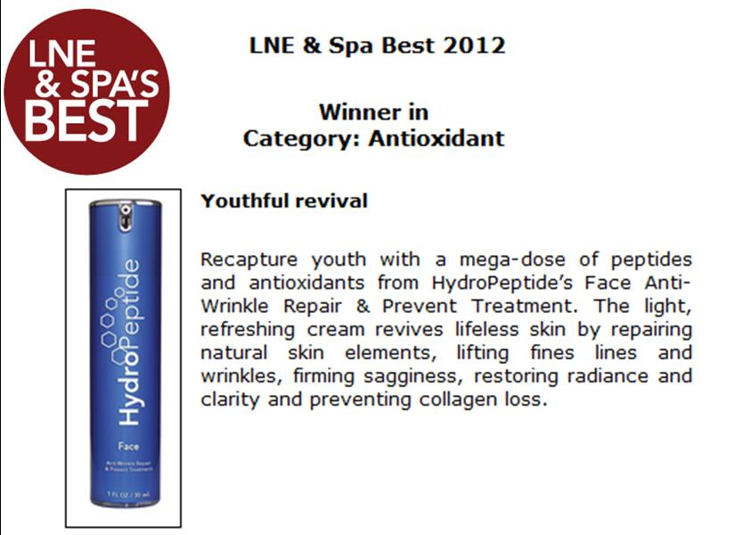 LNE Spa Best 2012 Award_Face