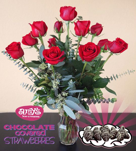 A Dozen Roses & Chocolate Covered Strawberries