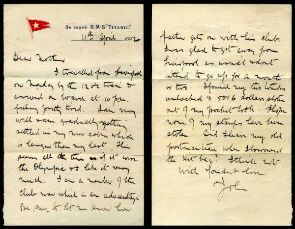 Titanic two page letter