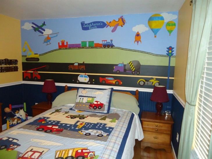 Two boys in chattanooga tn are vrooming around their for Boys room mural