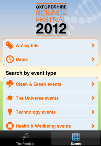OSF iPhone app menu screen