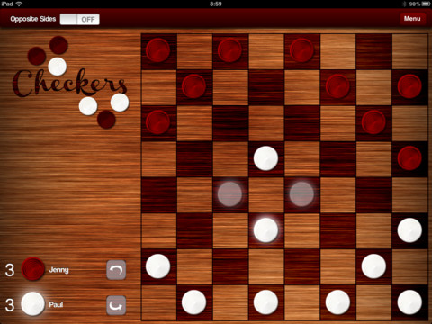 Checkers brings an authentic board game experience