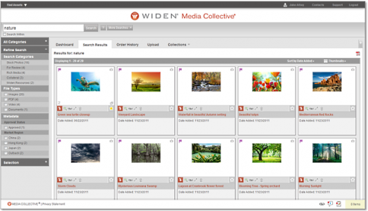 Widen Media Collective DAM software search results