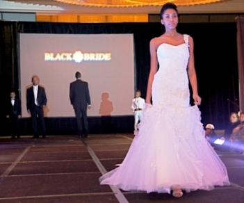 Model wearing Brides By Demetrios - Black Bride