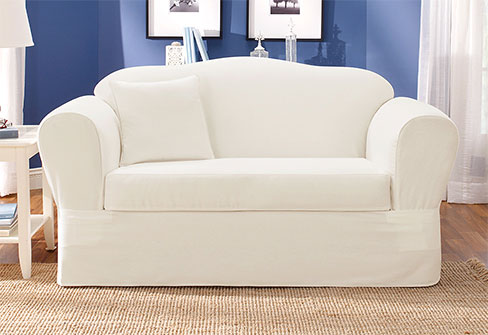 Twill Supreme Sofa Slipcover in White
