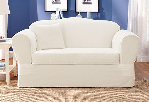 Twill Supreme Sofa Slipcover in White