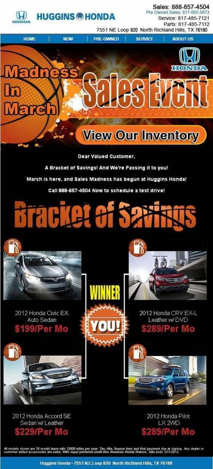 Madness In March Sales Event At Huggins Honda Fort Worth