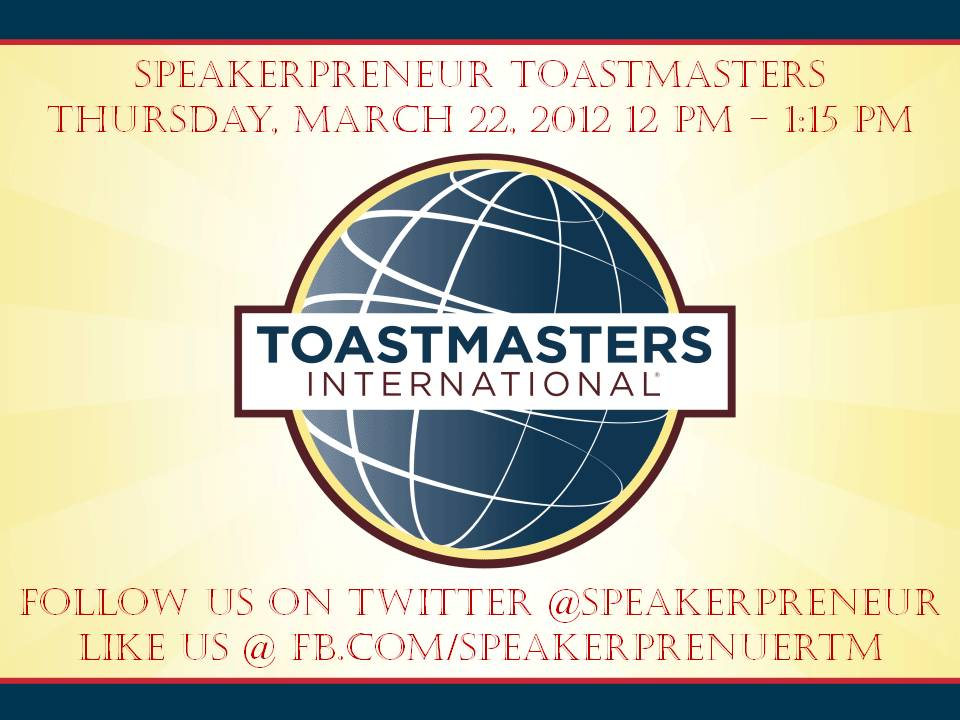 Speakerpreneur Meets 2nd & 4th Thurs.